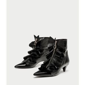 Zara Ruffle Zip Front Ankle Boots